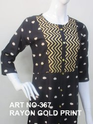 Rayon Ladies Printed Kurti