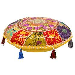 Yellow 100% Cotton Ethnic Patchwork Floor Cushion Cover, Size: Diameter-18 ( Inches )
