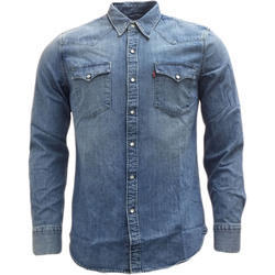Plain Full Sleeves Mens Blue Denim Shirt
