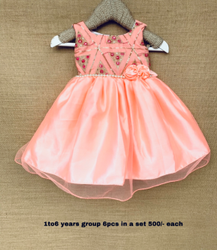 Stitch Sleeveless Girls Party Wear Frocks, Size: 1-6 Years