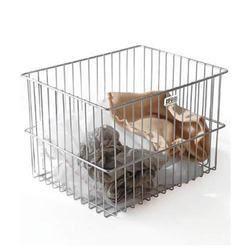 Stainless Steel Chrome, White Laundry Basket