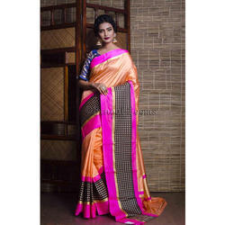 Pure Handloom Katan Silk Banarasi Saree in Orange and Rani