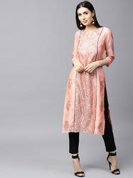 PEACH & BLACK HAND BLOCK PRINTED STRAIGHT KURTA