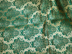 Green Brocade Fabric Banarasi Indian Silk