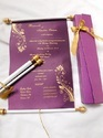 Custom Printed Scroll Invites In Purple Color