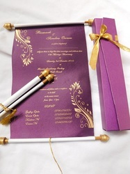 Client Specific Handmade Custom Printed Scroll Invites In Purple Color, Size: 4-6, 6*8