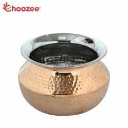 Choozee - Steel Copper Punjabi Serving Handi Bowl (600 ml)