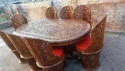 Star Enterprises Carved Chair Oval Wooden Dining Table Set for Home, Size: 8x4 Feet