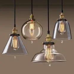 Golden Fluorescent Bulb Long Stick Crystal Hanging Light