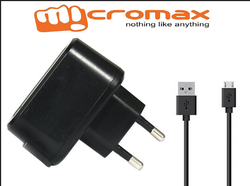 Black Micromax 1000 Mha Adaptor Original With Data Cable