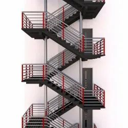 Black Mild Steel Fire Exit Staircase