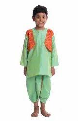 BownBee Bandhani Print Attached Jacket Dhoti Kurta- Green