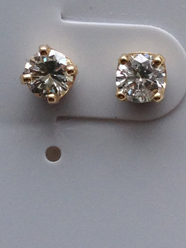 Handmade 14k Yellow Gold Diamond Stud Earrings 30 Ct