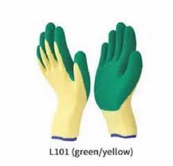 Green Rubber Coated Gloves