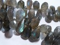 Labradorite Faceted Teardrop Gemstone Beads