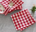 Red And White Cotton Checkered Napkin, Size: 21