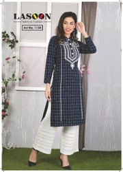 6087 Blue Ladies Woolen Kurtis