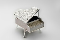 Piano Shaped Enameled Silver Box