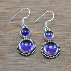 925 Sterling Silver Wholesale Jewelry Beautiful Amethyst Gemstone Earring We-3641