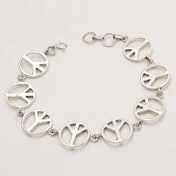 925 Sterling Silver Peace Symbol Bracelet
