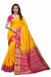 Designer Tussar Silk Saree Weaving with Blouse Piece