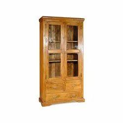 Distress Solidwood glass door cabinet