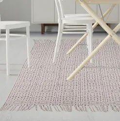 white Printed Indian Handmade Cotton Rug Home Decor Dari Carpet Floor Area Rug, Size/Dimension: 3 X 5 Feet