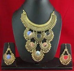 Party NK Handmade Hasli Golden Necklace Set, Size: Free