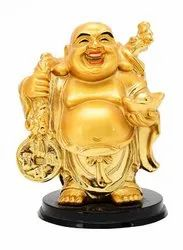 Kesar Zems Home Decor Fengsui Standing Golden Laughing Buddha for Wealth and Goodluck