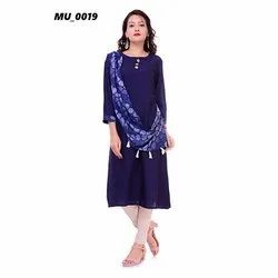 Plain Blue Ladies Kurti