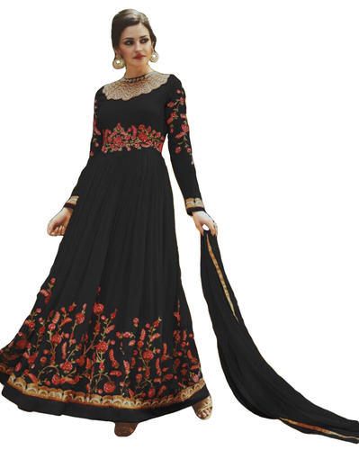 Georgette Black Casual Party Wear Anarkali Suits Rs 2820 Piece