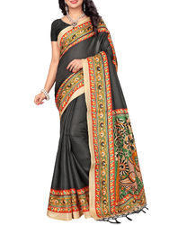 473b5d211aa848 Khadi Printed Black Saree with Blouse