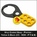 Premier Vinyl Coated Yellow & Black Lockout Hasp