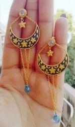 sterling silver flower motif chain gemstone
