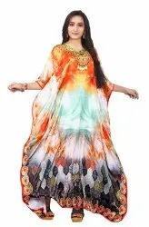Digital Printed Satin Silk Long Kaftan For Women