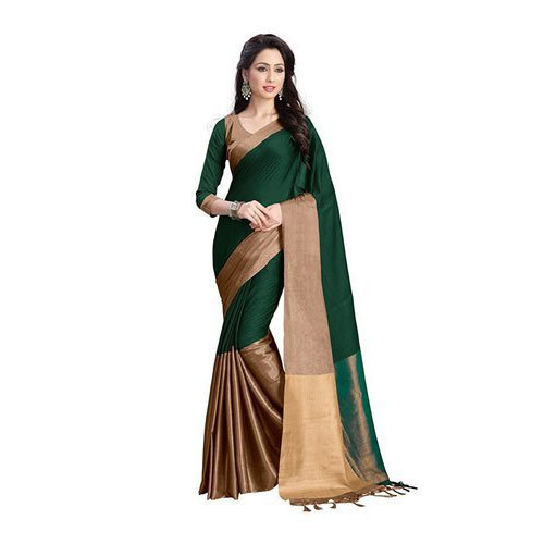 4e0083bcfc1599 Green And Golden Party Wear Ladies Cotton Saree, With Blouse, Rs 200 ...