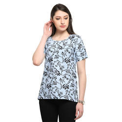 Round Neck Printed Top