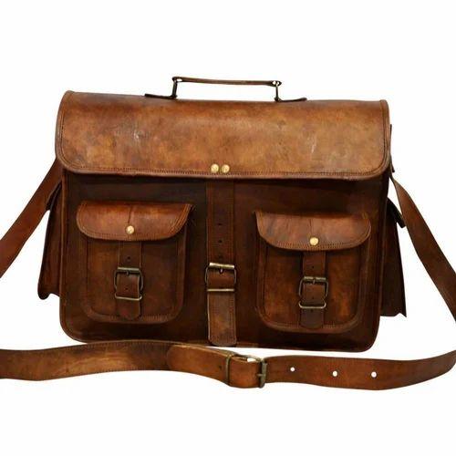 """Mens Goathide Leather Tote Briefcase Laptop 15/"""" Bag Messenger Shoulder Bag"""
