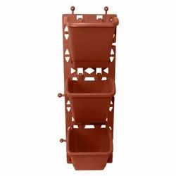 Brown 3 Pot Vertical Plastic Gardening Flower Planter