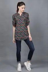 Ladies Printed Stand Collar Shirt