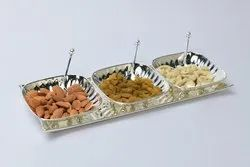Silver Plated Tray with 3 Square Bowls
