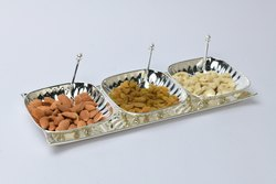 Silver Plated Tray with 3 Square Bowls - TS1005