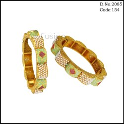 Antique Meenakari with White Pearl Traditional Bangles