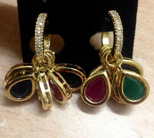 d40ac68d37 CZ Line Ruby Emerald Blue Stone Drops Danglers, फैशन ...