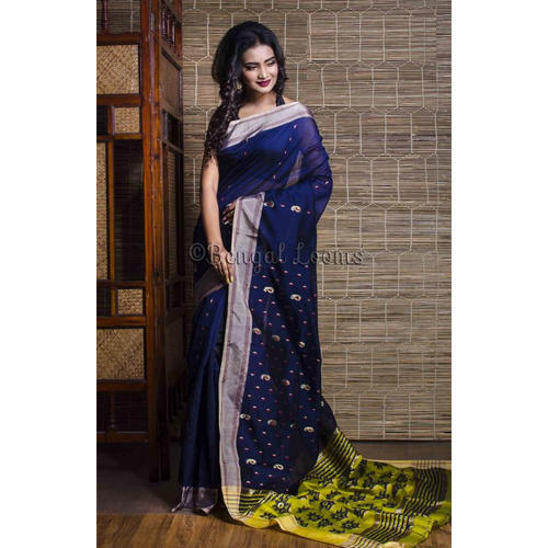 349e31a6b6f2e7 Pure Handloom Khadi Soft Cotton Silk Saree in Navy Blue at Rs 3300 ...
