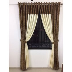 White and Brown Cotton Designer Window Curtain