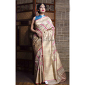 Pure Handloom Tussar Banarasi Saree In Beige And Gold