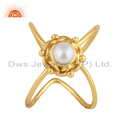 Indian Pearl Gemstone Handmade Design Gold Plated Silver 925 Ring