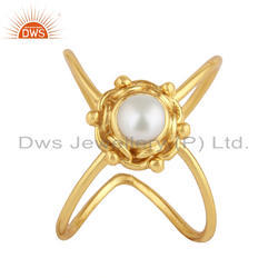 Natural Pearl Gemstone Handmade Design Gold Plated Silver Ring