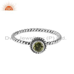 Natural Peridot Gemstone Oxidized Silver Ring